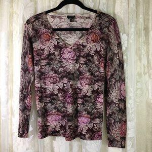 Talbots Rose Print Pure Merino Wool Sweater